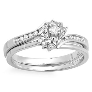 10k White Gold 1/4ct TDW White Diamond Bridal Bypass Bridal Set (H-I, I1-I2)