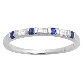 Elora 18k White Gold 1/4ct TDW Blue Sapphire and Baguette-cut Diamond Stackable Wedding Band (I-J, I2-I3 )