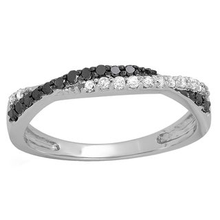 10k White Gold 1/3ct TDW Round Black and White Diamond Wedding Band Swirl Stackable Ring (I-J, I2-I3)