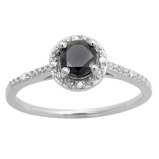 14k White Gold 5/8ct TDW Round-cut Black and White Diamond Bridal Engagement Halo Style Ring (I-J, I2-I3)
