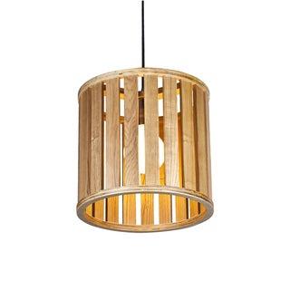 1-light Pendant Hanging Lantern with Wood Drum Shade