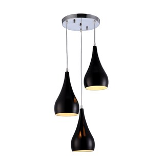 Black Finished Aluminum 3-light Pendant Light Fixture
