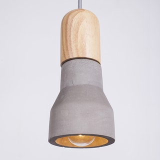 Vintage-style Flashlight-shape Pendant With Wood and Cement Shade