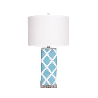 Blue and Yellow Ceramic Accent Table Lamp with Linen Shade