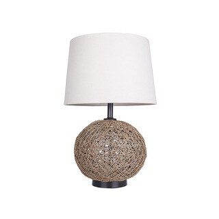 Linen Thread Ball Table Lamp with Linen Shade