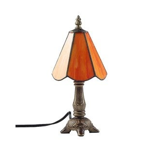 Green/ Orange Tiffany-style 1-light Table Lamp with Art Glass