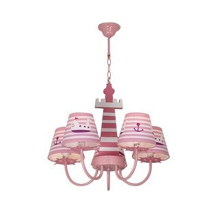Pink Wooden Chandelier with Ship Pattern Plastic Shade