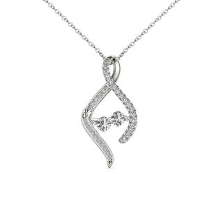 De Couer 10K White Gold 1/3ct TDW Diamond Two Stone Necklace