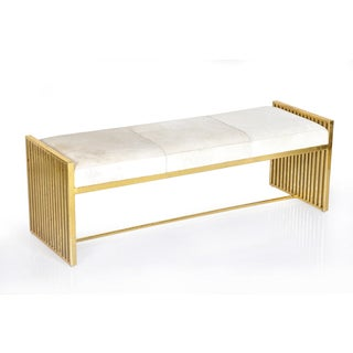 Modern White Hide Metal Bench