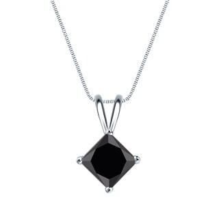 Auriya 14k Gold 1 1/4ct TDW Princess-Cut Black Diamond Solitaire Necklace