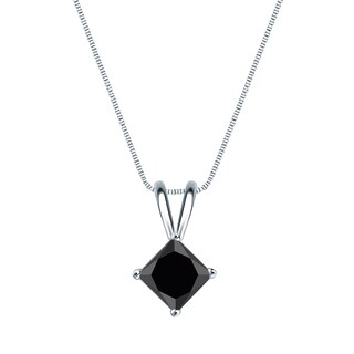 Auriya 14k Gold 1/2ct TDW Princess-Cut Black Diamond Solitaire Necklace