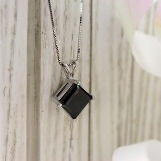 Auriya 2ctw Princess Cut Black Diamond Solitaire Necklace 14k Gold