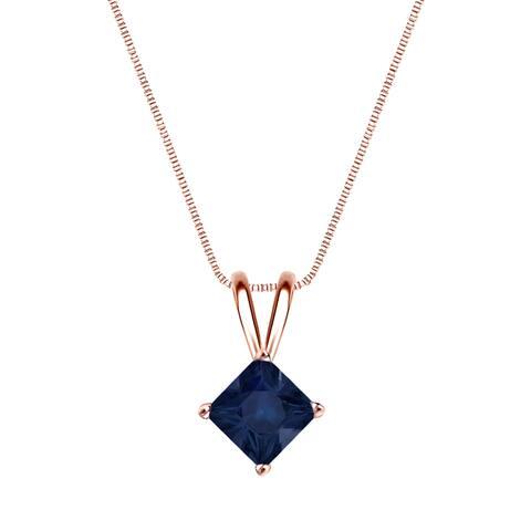 Auriya 1/2ct Princess Cut Blue Sapphire Solitaire Necklace 14K Gold