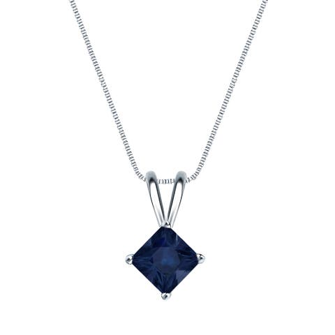 Auriya 14k Gold Princess-cut Sapphire Solitaire Necklace 1/2ct TW
