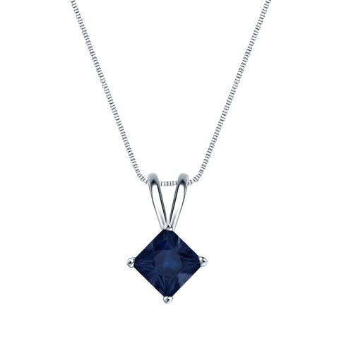 Auriya 1/2ct Princess Cut Blue Sapphire Solitaire Necklace 14K Gold