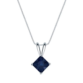 Auriya 14k Gold 1/2ct Princess-Cut Blue Sapphire Gemstone Solitaire Necklace