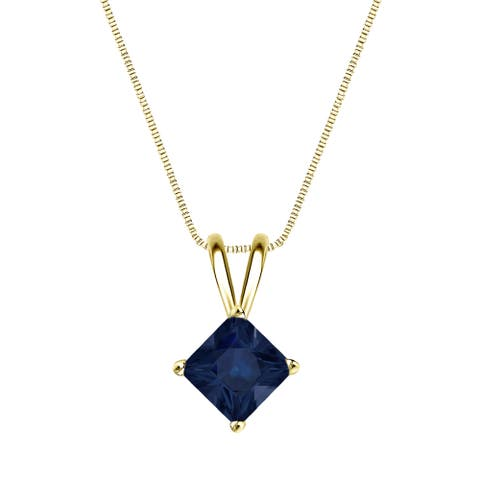 Auriya 14k Gold Princess-cut Sapphire Solitaire Necklace 1ct TW