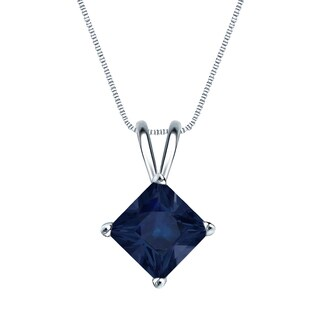 Auriya 14k Gold 2ct Princess-Cut Blue Sapphire Solitaire Gemstone Necklace