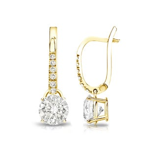 Auriya 14k Gold 1ct TDW Round Diamond Dangle Lever-Back Earrings
