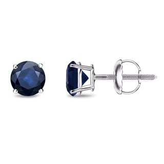 Auriya 14k Gold 1/2ct 4-Prong Screw-Back Round Cut Blue Sapphire Gemstone Stud Earrings