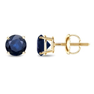 Auriya 14k Gold 3/4ct 4-Prong Screw-Back Round Cut Blue Sapphire Gemstone Stud Earrings