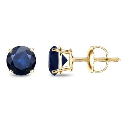 Auriya 14k Gold Round Sapphire Stud Earrings 1ctw