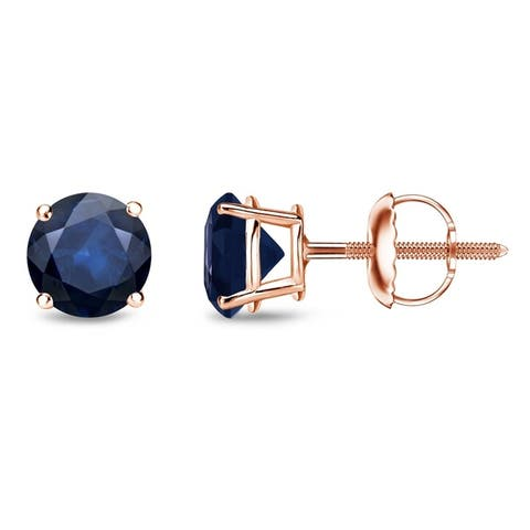 Auriya 14k Gold Round Sapphire Stud Earrings 1ctw