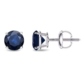 Auriya 14k Gold 1ct 4-Prong Screw-Back Round Cut Blue Sapphire Gemstone Stud Earrings