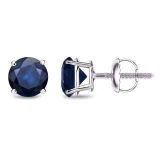 Auriya 14k Gold 1 1/2ct 4-Prong Screw-Back Round Cut Blue Sapphire Gemstone Stud Earrings