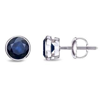 Link to Auriya 14k Gold Bezel-set Sapphire Stud Earrings 3/4ctw Similar Items in Earrings