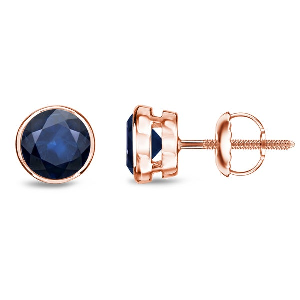 Auriya 14k Gold 1ct Round Blue Sapphire Bezel Solitaire Stud Earrings