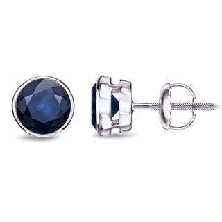 Auriya 14k Gold Bezel-set Sapphire Stud Earrings 1 1/2ctw