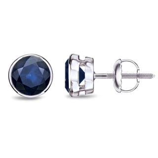 Auriya 14k Gold 1 1/2ct Bezel Screw-Back Round Cut Blue Sapphire Gemstone Stud Earrings