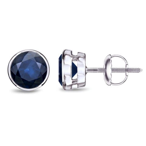Auriya 14k Gold Bezel-set Sapphire Stud Earrings 2ctw