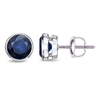 Auriya 14k Gold 2ct Bezel Screw-Back Round Cut Blue Sapphire Gemstone Stud Earrings
