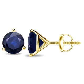 Auriya 14k Gold 2ct 3-Prong Screw-Back Round Cut Blue Sapphire Gemstone Stud Earrings