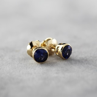 Link to Auriya 14k Gold Bezel-set Sapphire Stud Earrings 1/2ctw Similar Items in Earrings