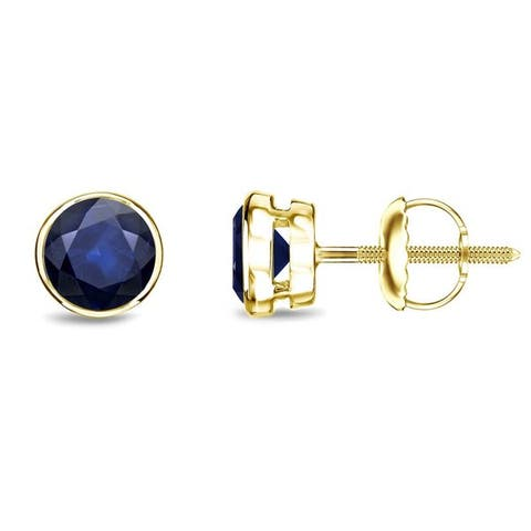 Auriya 14k Gold Bezel-set Sapphire Stud Earrings 1/2ctw