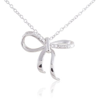 Sterling-silver Diamond Accent 18-inch Open Bow-tie Pendant Necklace