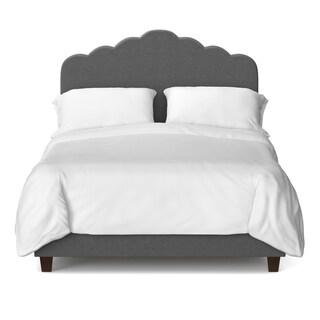 Portfolio Scalloped Parisian Smoky Grey Upholstered King Bed