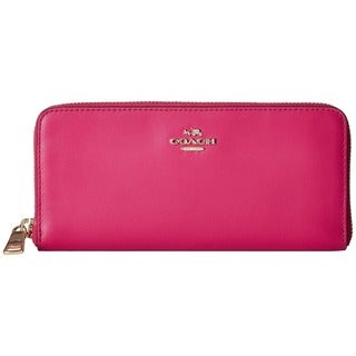 Coach Cerise-pink Smooth Leather 7.75-inch x 3.5-inch x 1-inch Slim Accordian Zip Wallet