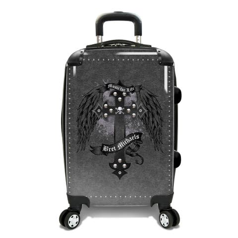 Bret Michaels 22-inch Cross Wings Expandable Hardside Carry-On Spinner Suitcase