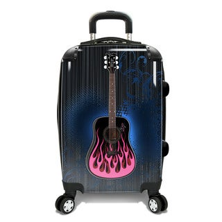 Bret Michaels 22-inch Pink Guitar Expandable Hardside Carry-On Spinner Suitcase