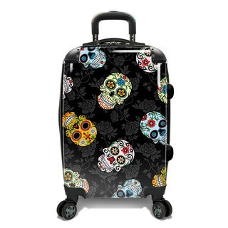 Loudmouth 22-inch Sugar Skulls Expandable Hardside Carry-On Spinner Suitcase