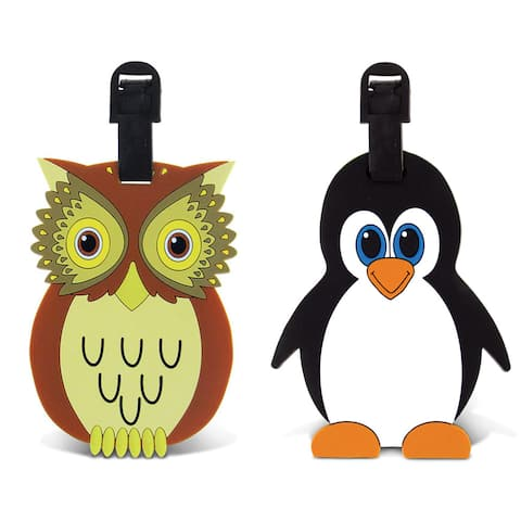 Puzzled Owl and Penguin Luggage and Travel Bag Tags (Set of 2)