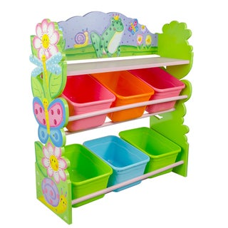 Teamson Fantasy Fields Magic Garden Hand-crafted Kids Wooden Toy Organizer with Storage Bins