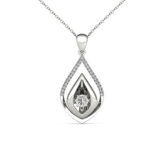 De Couer 10K White Gold 1/6ct TDW Dancing Diamond Necklace (H-I, I2)