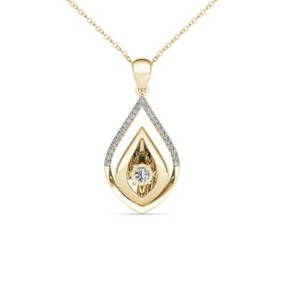 De Couer 10K Yellow Gold 1/6ct TDW Dancing Diamond Necklace (H-I, I2)
