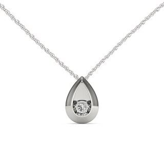 De Couer 10K White Gold 1/20ct TDW Dancing Diamond Necklace - White H-I