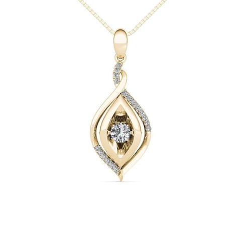 De Couer IGI Certified 10K Yellow Gold 1/4ct TDW Dancing Diamond Necklace